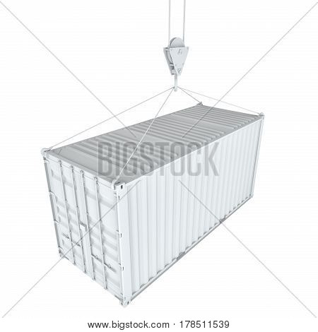 White cargo container on hook. Transportation concept. 3d rendering