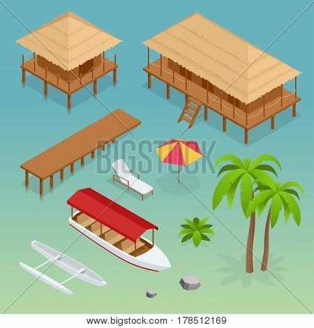 Luxury overwater thatched roof bungalow, bridge, palm tree, pleasure boat, kayak, beach lounger and sun umbrella. Tropical vacations. Isometric vector illustration.