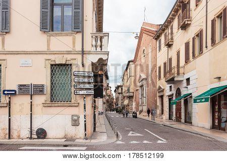 Via Anfiteatro Street Corner Of The Old City Of Verona