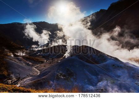 Jigokudani Or Hell Valley With Sunrise