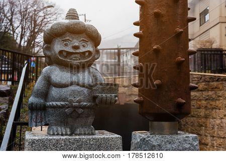Little Demon Statue In Noboribetsu