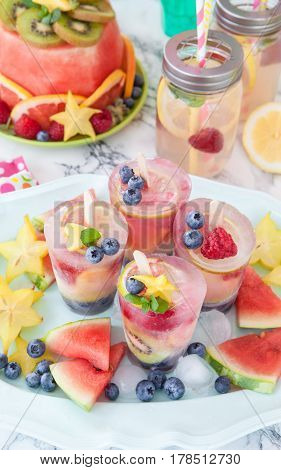 Homemade frozen popsicles made from fresh fruits