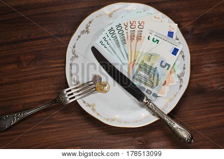 Some money of different countries shooted like a meal