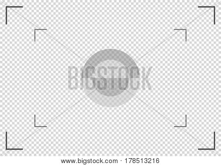 Camera viewfinder. Focusing screen of the camera. Vector template for your design.