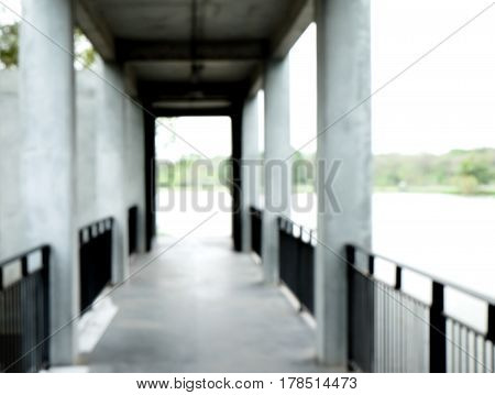 Blurred image of walkway in condominium for background use.