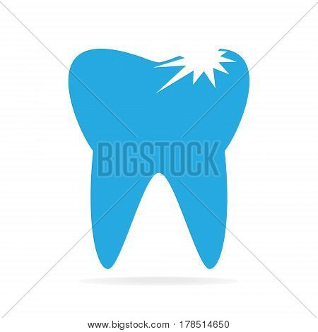 Tooth caries tooth decay icon, flat style illustration