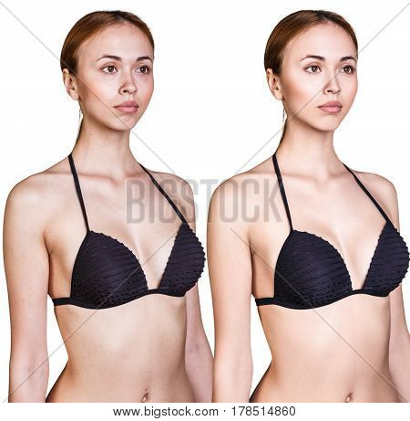 Perfect woman's body in swimwear before and after retouch. Isolated on white background