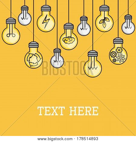 Hanging light bulbs with some lighted. Creative idea illustration. Problem solution. Line style. Inspiration background. Technology innovation discovery. Electric power