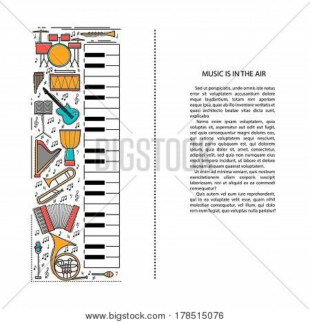 Music instrument line icons in piano shape. Art musical brochure element. Vector decorative greeting card or invitation design background. Creative booklet concept. Magazine cover.