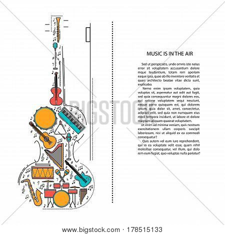Music instrument line icons in violin shape. Art musical brochure element. Vector decorative greeting card or invitation design background. Creative booklet concept. Magazine cover.