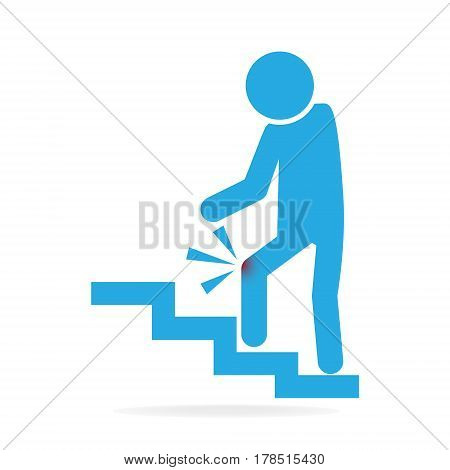 Man walking on stairs and injury of the knee . person injury symbol
