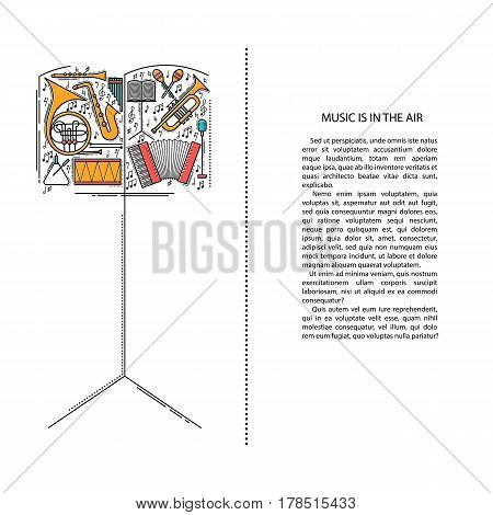 Music instrument line icons in note book shape. Art musical brochure element. Vector decorative greeting card or invitation design background. Creative booklet concept. Magazine cover.