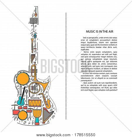 Music instrument line icons in electric guitar shape. Art musical brochure element. Vector decorative greeting card or invitation design background. Creative booklet concept. Magazine cover.