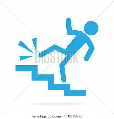 Man walking on stairs and injury person injury symbol illustration