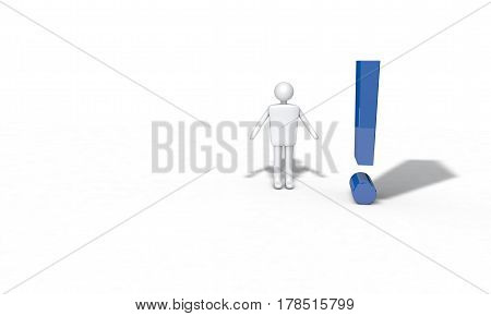 Exclamation Point And Line Character, 3D Render