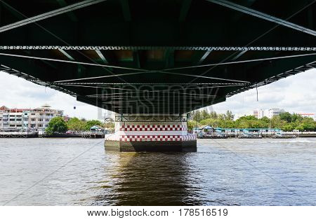 view under the old bridge cross river in Thailand