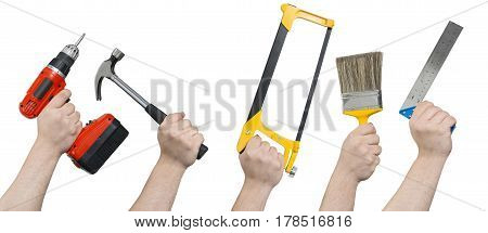 Hands Holding Various Building Tools And Equipment