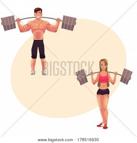 Man and woman bodybuilders, weightlifters working out, training with barbells, cartoon vector illustration with place for text. Full length portrait of man, woman bodybuilders with barbells