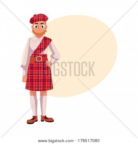 Scottish man in national clothes, red tartan beret and kilt, cartoon vector illustration with place for text. Full length portrait of Scottish man in tartan, plaid and kilt