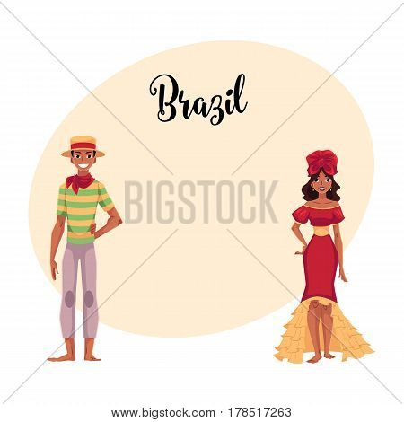 Man dressed for Festa Junina party and woman in ruffled skirt and headdress, Brazilian people, cartoon vector illustration with place for text. Brazilian couple dressed for carnival party