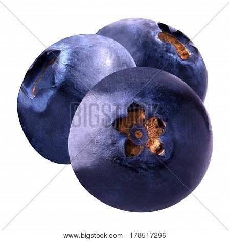 Isolated fruits. Three delicious blueberries isolated on white background as package design element. Healthy eating.