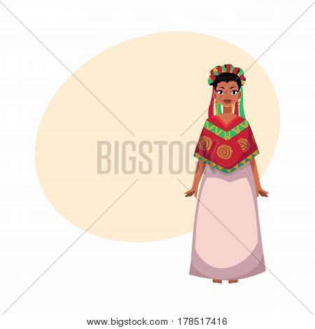 Mexican woman in national clothes, serape shawl and flower crown, head wreath, cartoon vector illustration with place for text. Full length portrait of Mexican woman in national clothes