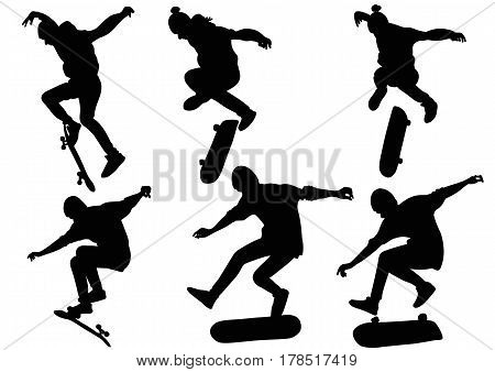 Set of silhouettes teenager jumping on a skateboard - vector