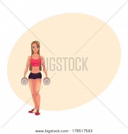 Young woman, female bodybuilder, weightlifter working out with dumbbells, cartoon vector illustration with place for text. Beautiful woman bodybuilder standing with dumbbells