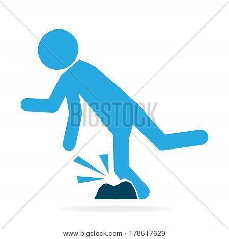 Man tripping over on floor person injury symbol illustration