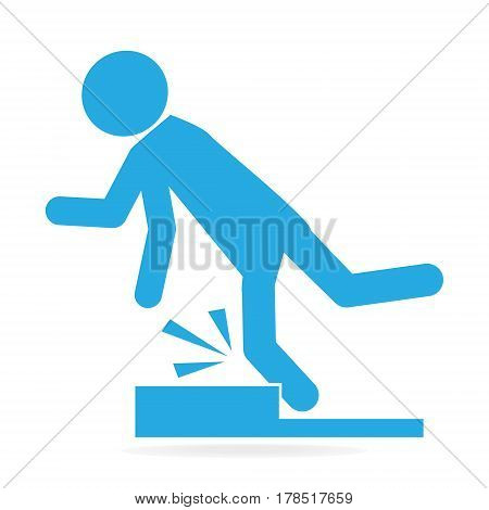 Man tripping over on step floor person injury symbol illustration