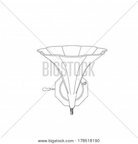 Gramophone. Isolated on white background. Sketch illustration. Top view.
