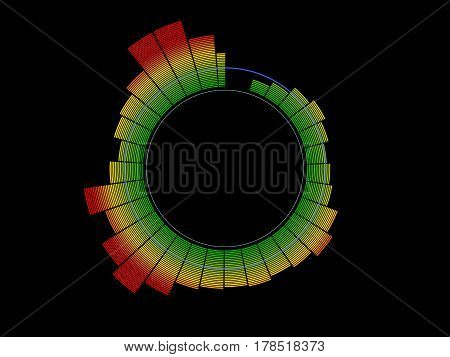 Colorful circle music equalizer. Isolated on black background. Digital illustration.