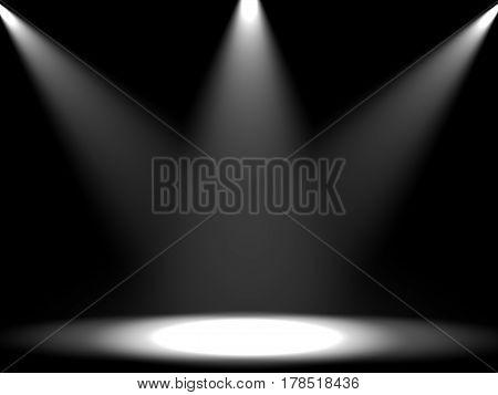 Empty illuminated scene. Light effects. Digital illustration.