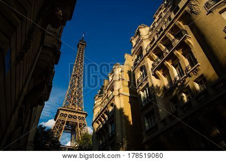 Eiffel Tower. Paris. France. Famous Historical Landmark On The Quay Of A River Seine. Romantic, Tour