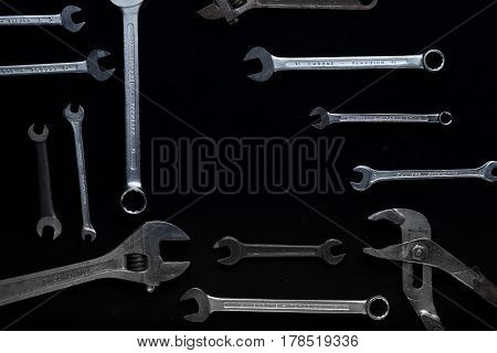 Construction Tools Set On Dark Background. Assortment Instruments For Repairman, Carpenter, Builder.