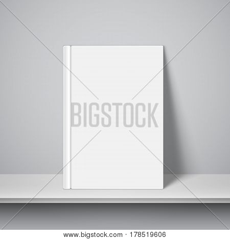 Book with empty blank cover on white bookshelf. White object mock-up or template