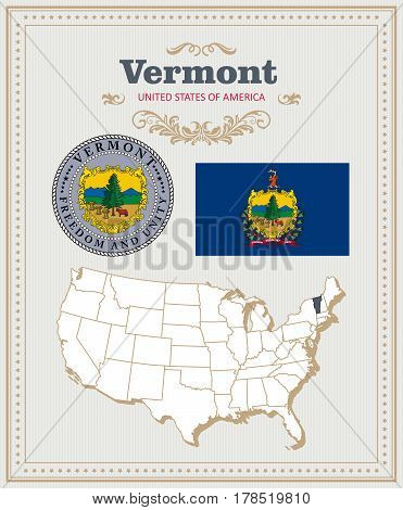 High detailed vector set with flag, coat of arms, map of Vermont. American poster. Greeting card from United States of America. Colorful design
