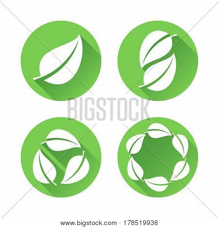Set of four round flat icons with tree or plant leaves