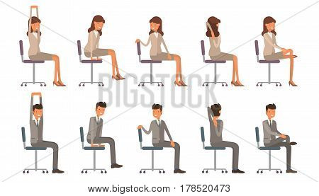 Office Chair Yoga. Corporate Workout Vector Illustration On White Isolated Background. Business Man