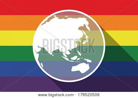 Long Shadow Gay Pride Flag With  An Asia Pacific World Globe Map