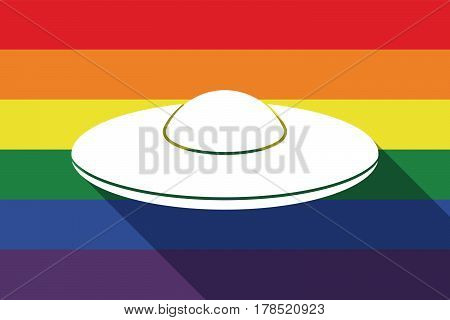 Long Shadow Gay Pride Flag With  A Flying Saucer Ufo