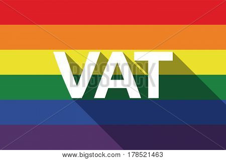 Long Shadow Gay Pride Flag With  The Value Added Tax Acronym Vat