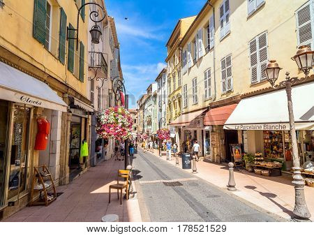 Antibes, France - June 29, 2016: day view of Rue du Dr Rostan street in Antibes France. Antibes is a popular seaside town in the heart of the Cote d'Azur.