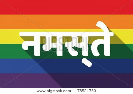 Long Shadow Gay Pride Flag With  The Text Hello In The Hindi Language