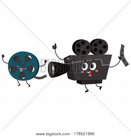 Movie shooting camera and film reel characters with smiling human faces, cartoon vector illustration isolated on white background. Smiling movie shooting camera and cinema film characters, mascots