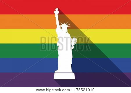 Long Shadow Gay Pride Flag With  The Statue Of Liberty