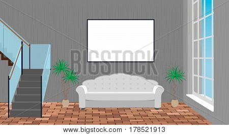 Mockup living room interior with empty frame sofa brick floor and second floor stairway. Vector illustration.