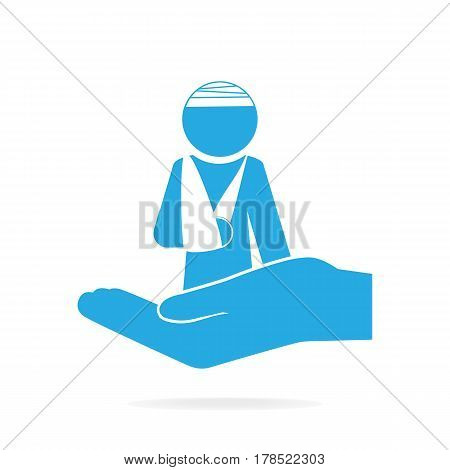 Injury man and bandage in hand icon. Protection or care medical service accident insurance concept