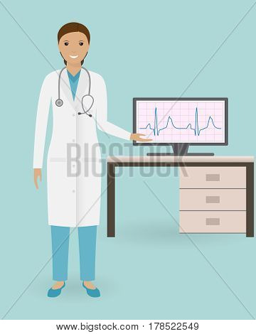 Doctor cardiologist standing with cardiological medical equipment. Medical employee. Hospital staff. Doctor specialization concept. Vector illustration.