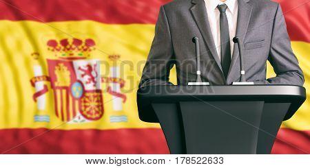 Speaker On Spain Flag Background. 3D Illustration